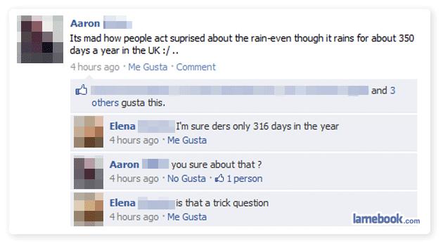 Funny Rainy Facebook Status