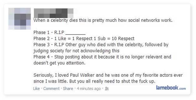 When a celebrity dies...